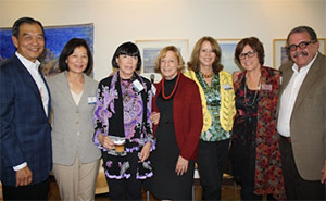 Exhibiting artists, from left: David Lee, Ellen Lee, Gayle Garner Roski, Ruth Weisberg, Jan Handtmann, Susie Gesundheit and Jaime Gesundheit. Photo courtesy of USC Hillel